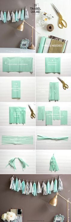 Add some sparkle to your next party with this super easy mint, gold, and silver tassel garland. Choose your own colors to create unique party or home decor!