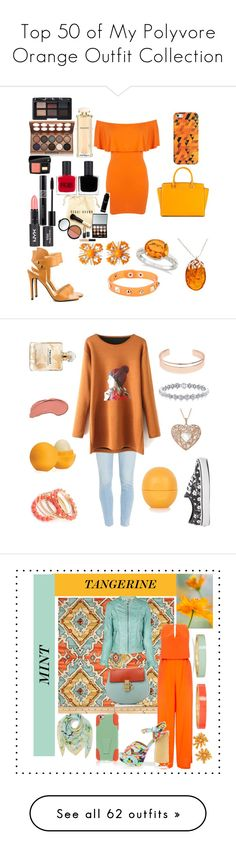 """Top 50 of My Polyvore Orange Outfit Collection"" by mackennan ❤ liked on Polyvore featuring Miss Selfridge, Fergie, MICHAEL Michael Kors, Casetify, Dettagli, Miriam Haskell, Allurez, Be-Jewelled, Bobbi Brown Cosmetics and RGB"