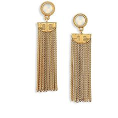 Tory Burch Coin Crystal Tassel Drop Earrings ($155) ❤ liked on Polyvore featuring jewelry, earrings, apparel & accessories, gold, tory burch earrings, post earrings, fringe earrings, stud drop earrings and crystal jewelry
