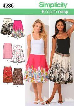 Womens Slim Circle Skirts Sewing Pattern 4236 Simplicity - half circle suits border print