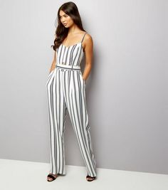 White Stripe Tie Back Jumpsuit  | New Look