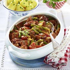 Kasseler-Gulasch mit Bohnen und Tomaten Rezept