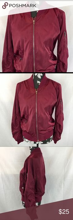 98d4824d Love Tree maroon bomber jacket sz L *New Listing* Maroon bomber jacket with  ruching
