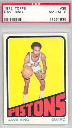 1972 Topps Basketball 35 Dave Bing Pistons PSA 8 Near-Mint to Mint by Topps. $15.00. This vintage card featuring Dave Bing is # 35 from the 1972 Topps Basketball set