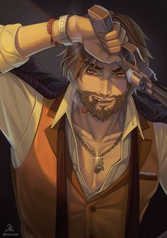 A collection of tattoos and fan art inspired by McCree from the game Overwatch. Overwatch Tattoo, Overwatch Fan Art, Abraham Van Helsing, Overwatch Wallpapers, Drawing Reference Poses, Mountain Man, Mobile Legends, Gay Art, Manga Games