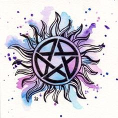 inches print of the anti-possession tattoo from Supernatural Supernatural Symbols, Supernatural Drawings, Supernatural Bloopers, Supernatural Fan Art, Supernatural Imagines, Supernatural Wallpaper, Supernatural Anti Possession Tattoo, Diy Tattoo, Tattoo Ideas
