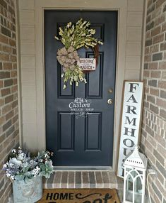Your place to buy and sell all things handmade Outdoor Entryway Decor, Front Entry Decor, Front Door Porch, Wreaths For Front Door, Farmhouse Front Porches, Small Front Porches, Wicker Porch Furniture, Rustic Farmhouse Decor, Farmhouse Door