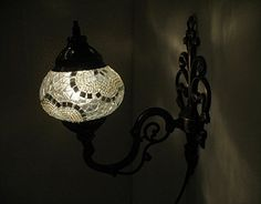 White mosaic glass sconce lamp wall lamp lampe by meryemart Turkish Lights, Outdoor Lamps, Moroccan Lanterns, Wall Lights, Ceiling Lights, Livex Lighting, Mosaic Glass, Lamp Light, Wall Sconces