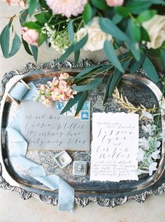 Dreamy Blue Wedding Inspiration with a Surprise Proposal : Calligraphy Invitation Suite Budget Wedding, Wedding Tips, Wedding Details, Wedding Planning, Wedding Day, Wedding Venues, Wedding Affordable, Blue Wedding, Wedding Reception