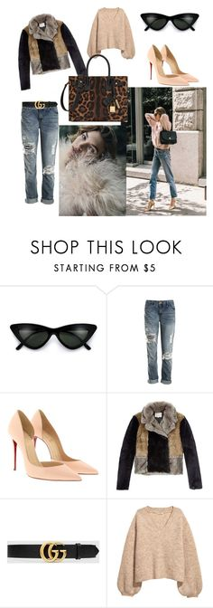 """""""boyfirend jeans style"""" by fashionbabe55 ❤ liked on Polyvore featuring beauty, Sans Souci, Christian Louboutin, Rebecca Taylor, Gucci, Yves Saint Laurent and Different"""