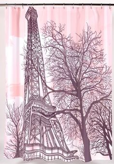 Carnation Home Fashions Tour Eiffel Fabric Shower Curtain Carnation Home  Fashions,http://