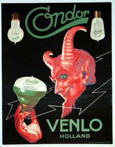 1920's poster for Condor Lights, Venlo, Holland- AntikBar