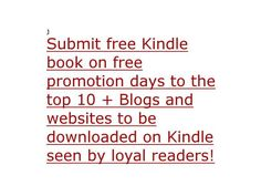submit your free kindle book to over 10 sites