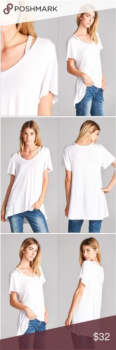 "🆕 Snow White Open Shoulder V-Neck Tunic Top Snow White Open Shoulder V-Neck Tunic  •Short sleeves •This white has a touch of gray to it.  •Hi/Low style •Very soft, lightweight fabric with good stretch •95% Rayon 5% Spandex  Measurements: S-  Bust: 34""  Length: 24/27"" M- Bust: 36""  Length: 25/28"" L-  Bust: 38""  Length: 26/29""  #HC881017W  ❗Price is firm unless bundled❗ Tops"