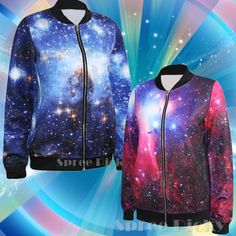 Autumn galaxy printing jacket coat top free ship sp141449