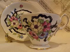 Vintage Royal Albert Tea Cup & Saucer Set, PINK & YELLOW FLORAL, BLACK RIBBON in Pottery & Glass, Pottery & China, China & Dinnerware, Royal Albert | eBay
