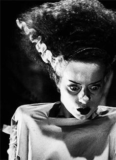 Elsa Lanchester's shock hairdo was held in place by a wired horsehair cage.