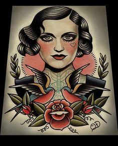 Clapet et hirondelles Art Print par ParlorTattooPrints sur Etsy