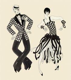Charleston Couple ~ Art Deco era illustration by Erte. Art Deco Illustration, Vintage Illustrations, Couple Illustration, Portrait Illustration, Art Deco Print, Art Deco Design, Belle Epoque, Art Deco Fashion, Fashion Prints
