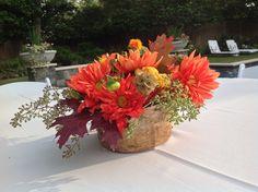 Fresh autumnal outdoor centerpiece in birch pot by Fleur de Vie.