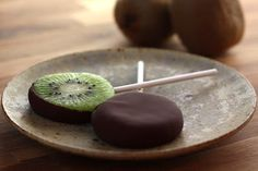 Chocolate covered kiwi popsicles!