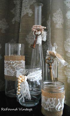 5 Shabby Chic Vases/Bottles by ReFoundVintage on Etsy