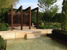 The Laurent-Perrier Garden, Chelsea 2013 by landscape designers Nicole de Vesian & Ulla Molin.   Rectilinear shapes are softened by irregular shrubs