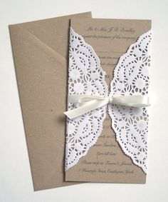 Paper Lace Wedding Invitation by STNstationery on Etsy, £2.50