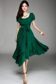 LOVE IT: This irregular hemline bound waist short sleeve dress from Oasap? Fan-freaking-tastic in emerald. $144.