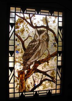 Stained glass Owl entry with Art Deco border and sidelites. Stained glass and glass fusion Stained Glass Birds, Stained Glass Designs, Stained Glass Panels, Stained Glass Projects, Stained Glass Patterns, Leaded Glass, Mosaic Glass, Mosaic Mirrors, Mosaic Wall