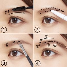 Asian Makeup Tutorials, Korean Makeup Tips, Cute Makeup, Pretty Makeup, Eyeliner Tape, Eyebrows, Korea Makeup, Ideal Shape, Ideal Beauty