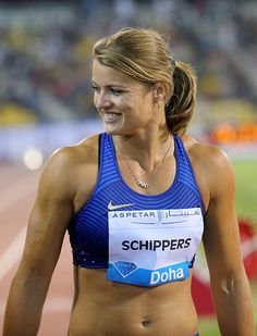 The Netherland's Dafne Schippers reacts after coming second in the 100m women's race at the Diamond League athletics meeting at the Suhaim bin Hamad...