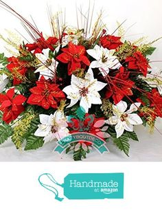 Beautiful XL Red & White Poinsettia's Cemetery Tombstone Saddle from Crazyboutdeco Deco Mesh Wreaths and Cemetery Arrangements https://www.amazon.com/dp/B01M9BBE91/ref=hnd_sw_r_pi_dp_A.scyb9C1RCYW #handmadeatamazon