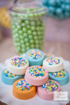 Gorgeous chocolate covered Oreos at a Rainbow Party!   See more party ideas at CatchMyParty.com!  #partyideas #rainbow