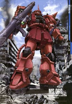 The MS-06S Zaku II Commander Type looks very similar to the standard MS-06F Zaku II, so much so, that the Earth Federation can generally only tell the difference from color schemes most pilots apply to their units and the increased performance of this version. It first appears in the anime series Mobile Suit Gundam.