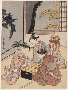 Courtesan and Attendant Playing Sugoroku, with an Actor Watching  双六遊び Japanese Edo period about 1767–68 (Meiwa 4–5) Artist Suzuki Harunobu (Japanese, 1725–1770)