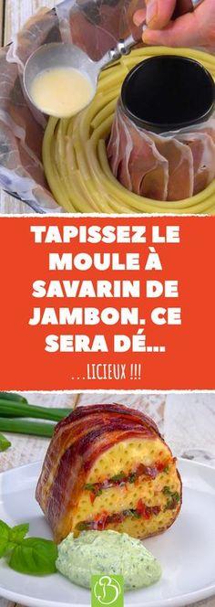 Dégustez un plat 2 en 1 plus que surprenant grâce à cette recette réalisée dans un moule à savarin. Un concentré de protéines, de féculents et même de légumes et ce, dans le même plat. #gratin #pates #macaroni #gateau #recette #recettes #jambon #legume #tomate #tomates