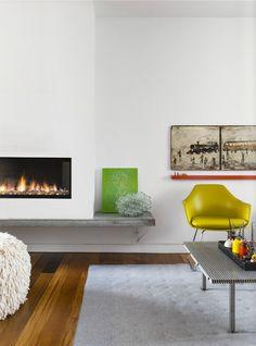 contemporary fireplace with concrete hearth White Fireplace, Fireplace Design, Fireplace Ideas, Loft Spaces, Living Spaces, Living Rooms, Fireplace Drawing, Estilo Interior, Interior Decorating