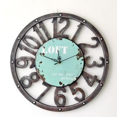 W Retro Rustic Style Loft Wooden Wall Clock for Home/Bar/Restaurant Decoration, Arabic Numerals Mute Clock, Powered Bby One AA Battery, Design Bleu, Loft Stil, Rustic Loft, Rustic Style, Tuscan Style, Country Style, Style Loft, Unique Clocks, Rustic Clocks