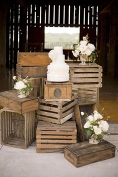 Old crates as stands. Great for a rustic or barn-type theme.