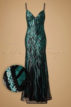 Vintage Chic - 30s Vera Sequin Maxi Party Dress in Emerald