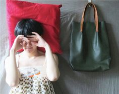 leather green bread bag