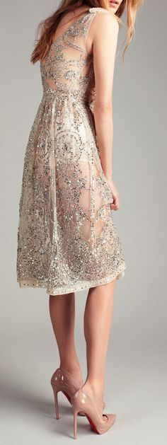 Sexy lace dress with nude #Loubie pump @HeeledShoes