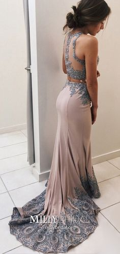 Grey Prom Dresses Champagne, Two Piece Formal Evening Dresses Mermaid, Elegant Wedding Party Dresses Tulle, Lace Pageant Graduation Party Dresses For Teens #MillyBridal #champagnedress #graydresses #twopiecedresses