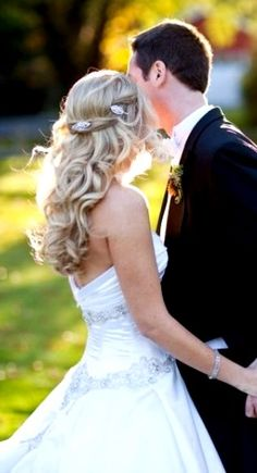 Bride's  half up long down curls bridal hair Toni Kami Wedding Hairstyles ♥ ❷ Hair ideas for the bride  jeweled clips