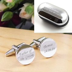 Mens Personalised Father of the Groom Wedding Day Custom Engraved Cufflinks make the perfect gift for the father of the groom at your wedding. Our engraved wedding cufflinks are a great fashion accessory and complement any shirt and suit combination. These cufflinks can be personalised with the name of your grooms father and the date of your wedding for a truly bespoke, personal gift. All our cufflinks are presented in a stylish black faux leather cufflink box as standard. Each set of…
