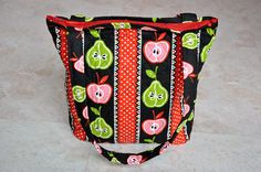 cute teacher quilted purse - apple and pear print, black, green, and red with zipper