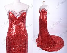 Red Sequin Prom Dress Mermaid Strapless Sequined Long by Formals