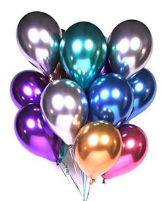 Metallic Balloons Party 50 Pcs Latex Metallic Chrome Balloon Birthday Balloons Helium Shiny Balloons Party For Compatible Wedding,Pr Metallic Balloons, Purple Balloons, Latex Balloons, Kids Party Decorations, Balloon Decorations, Ballons Violets, Deco Ballon, Air Ballon, Twisting Balloons