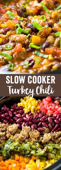 Slow cooker turkey chili is a hearty meal and easy to prepare. Each bowl has fire roasted jalapeños, butternut squash, tomatoes, beans, corn, and savory spices.  via @foodiegavin